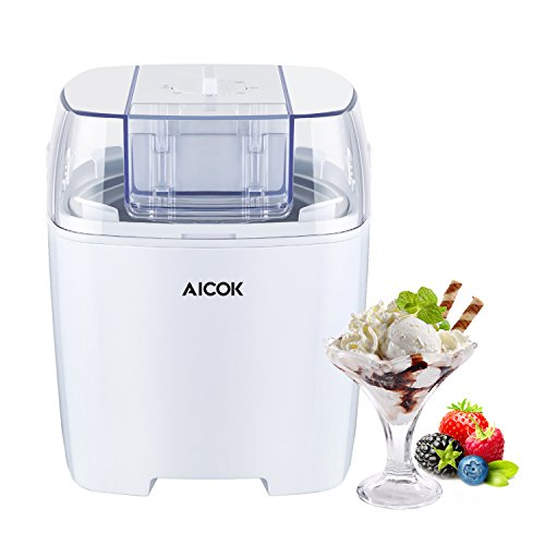Eismaschine 1,5 L, Aicok 3 in 1 Eiscrememaschine, Joghurt und Sorbet Frieren Maschine, Speiseeismaschine mit Timer, Weiß