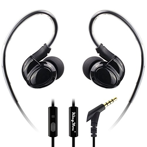 Kingyou In Ear Ohrbügel Kopfhörer, Wired Sport Ohrbügel Headset mit Mikrofon Kabelgebundene Kopfhoerer für iPhone5/5S/6 iPad iPod Galaxy Smartphone und MP3 Player (Schwarz)【Neue 2019 Version】 Ipod-headset