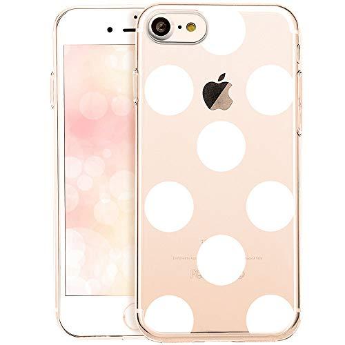 OOH!COLOR Schutzhülle Kompatibel mit iPhone 7 Hülle iPhone 8 Handyhüllen silikon Transparent Case dünn Tasche mit Motiv große weiße Punkte (EINWEG)