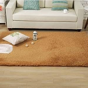 Generic 50x80cm Bedroom Living Room Soft Rug Shaggy Anti Slip Carpet Absorbent Mat-Khaki