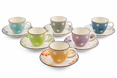 Villa d'Este Home Tivoli Margarita Set 6Kaffeetassen mit Untertasse, Keramik, mehrfarbig,...