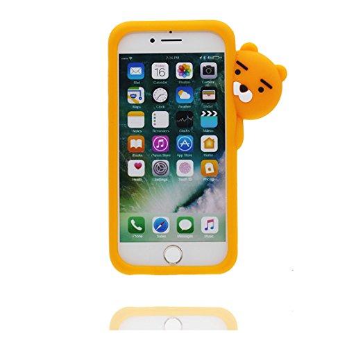 """iPhone 7 Plus Hülle, 3D Cartoon Einhorn Cover Unicorn iPhone 7 Plus handyhülle (5.5 zoll) flexible TPU Shell iPhone 7 Plus case (5.5""""), Staub Rutsch kratzfest und Ring Ständer gelb 2"""