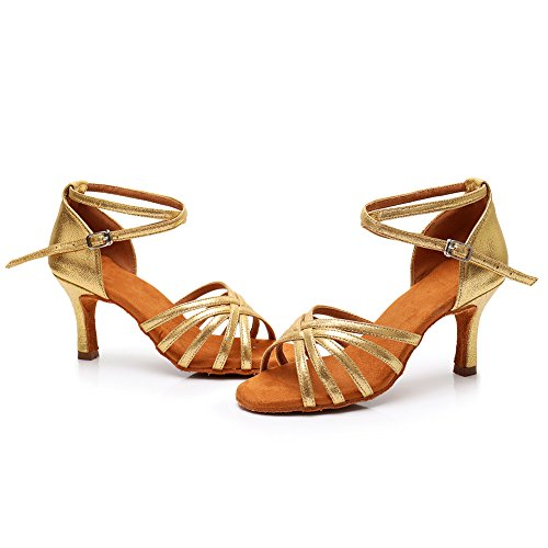 SWDZM Damen Ausgestelltes Tanzschuhe/Standard Latin Dance Schuhe Satin Ballsaal ModellD213-7 Gold EU38.5 - 6