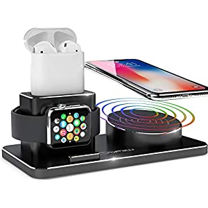 Apple Watch Ladestation YFW Wireless Charger 10W QI Ladestation für iPhone XS Max/Xs/XR/X/8/8 Plus, Kompatibel mit Apple Watch Series 4 3 2 1 AirPods inkl 2 Kabel