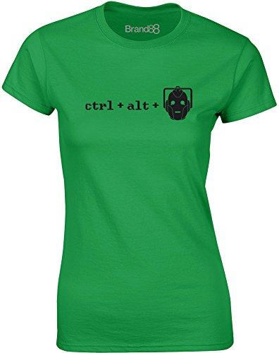Brand88 - Ctrl + Alt + Del, Gedruckt Frauen T-Shirt Grün/Schwarz
