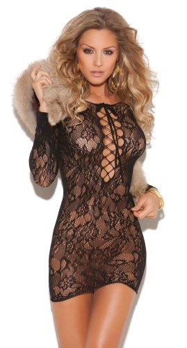 Elegant Moments Women's Long Sleeve Mini Dress With Lace Up Front, Black, One Size