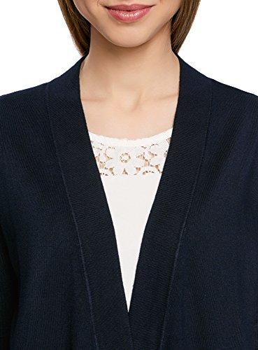 oodji Collection Donna Cardigan Largo Senza Chiusura Blu (7900N)