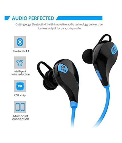 ROYAL Sweatproof Sports Headset Sport Bluetooth Headset||Running and Gym Wireless Stereo Bluetooth Headphone with Mic & Noise Cancelling Headsets||4.1 Wireless Stereo Sport Headphones Headset||Stereo Sound Quality with Ergonomic-Design…(BLUE) Compatible for Coolpad Note 3 Plus
