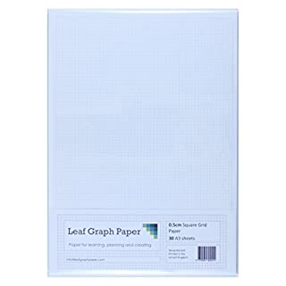 A3 Graph Paper 5mm 0.5cm Squared Cartesian - 30 Loose-Leaf Sheets - Grey Grid Lines