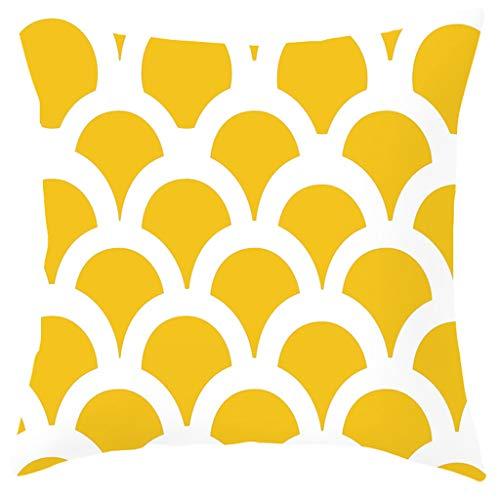Nncande Einfach Kissenbezüge 45x45 cm Qualitäts Kissenhüllen In Baumwolle Leinen-Optik Mit Geometrischen Mustern Für Sofa Auto Terrasse Zierkissenbezüge Wohnkultur Kissenhülle Serie Gelber
