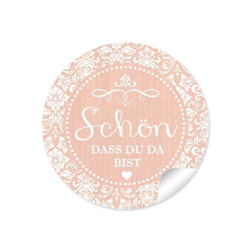 """24 STICKER: Schöne Etiketten\"""" Schön, dass du da bist\"""" Etiketten im\""""Shabby Chic gestreiften Look in zartem apricot für Freudentränen-Verpackungen zur Hochzeit • Format 4 cm, rund, matt"""