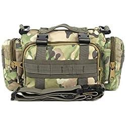 SODIAL(R)Hombres tactico paquete de cintura Bolsa de hombro Bolso Bolso de multiples propositos de Militar Acampa Excursionismo Deporte al aire libre CP camuflaje