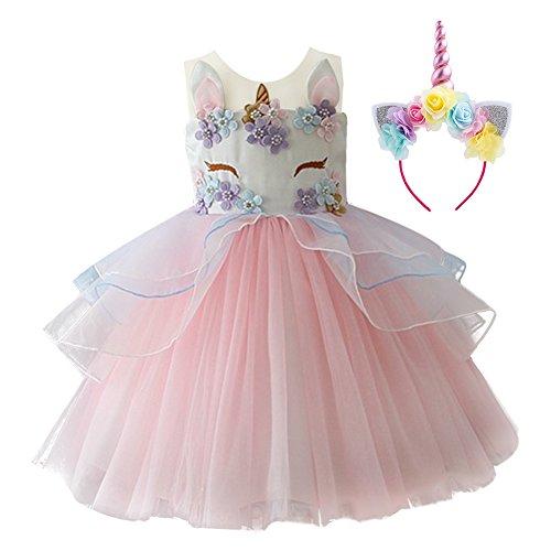 cf517a17a IBTOM CASTLE Vestido de Tutu Princesa Unicornio Arco iris Fiesta de  cumpleaños.