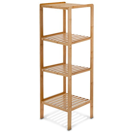 Edles BAMBUS Regal - mit 4 Ablagen - 110 x 33 x 33 cm - Badregal - Holzregal - für Bad, Wohnzimmer, Küche oder Schlafzimmer