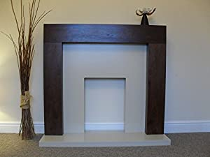 """Gas or Electric Fire Brown Mango Walnut Surround Ivory Cream Marble Stone Modern Hearth Wall Fireplace Suite 48"""""""