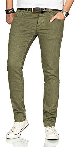 Designer Herren Jeans Hose Regular Slim Fit Jeanshose Basic Stretch [AS-092 - W36 L36] , Grün (Hose Blau-grüne)