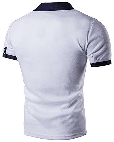Poloshirt Herren Basic T-Shirt Kurzarm Polohemd Weiß