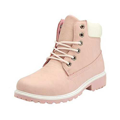 Rosa Winter-schnee-stiefel (Frauen Ankle Boots - Juleya Casual Winter Schnee Stiefel Outdoor Worker Boots Combat Boots Gr.40 / Rosa)