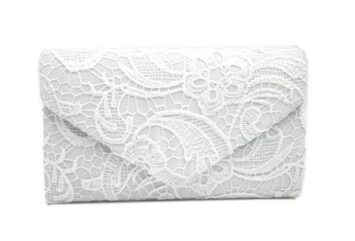 ELE GENS Damen Frauen Clutch Abendtasche Handtasche Umhängetasche Spitze mit Kette Weiß