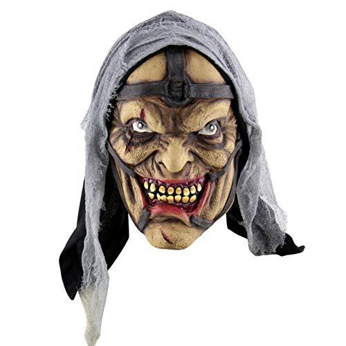 Pynxn - Festival Party Supplies Halloween Latex Maske Horrifying Maske Latex Maske mit Hut für Maskerade-Halloween-Kostüm-Bar Realistische [C] (Aztekische Halloween Kostüm)