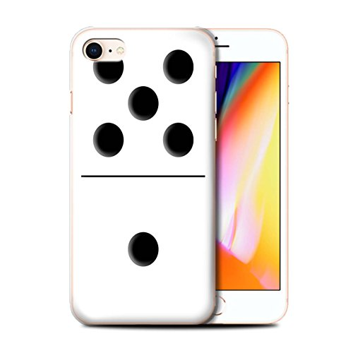 Stuff4 Hülle / Case für Apple iPhone 8 / Schwarz Kachel 1/4 Muster / Domino/Dominos Kollektion Weiß Kachel 5/1