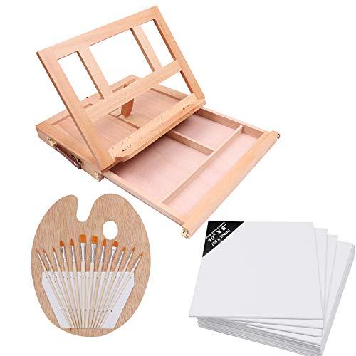i und Leinwand Set (26 teilig)-Kleine Holz Staffelei, Vollkommenes Hobby Kunst Set für Kinder, Anfänger, Künstlerbedarf mit 12 Malpinsel, 12 Mal Leinwände, 1 Mischpalette ()