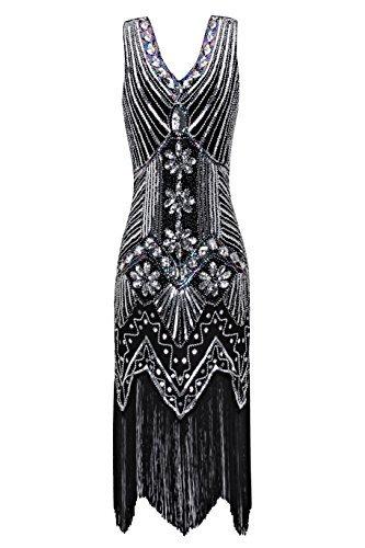 er Jahre V Ausschnitt Perlen Fransen Gatsby Thema Flapper Kleid für Abschlussball (1920 Kostüm Kleider)