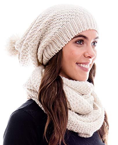 Winter Kombi Set aus Winter Schal und passender Strickmütze/Beanie mit Pompon/versch. Designs, Winter Set:Creme