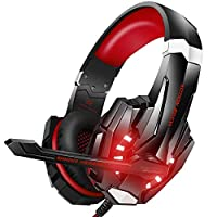 KOTION EACH G9000 3.5mm Gaming Headphone Game Headset Noise Cancellation Earphone with Mic LED Light Black-red