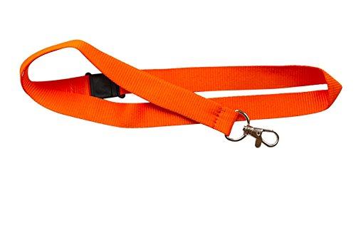 kestronics® Arancione 20mm Cordino con apertura di sicurezza e clip in metallo