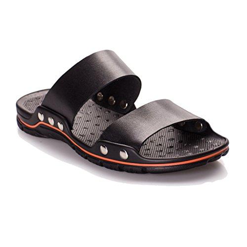 SIMPVALE Homme Chaussons en PU Cuir Pantoufles Dehors Noir