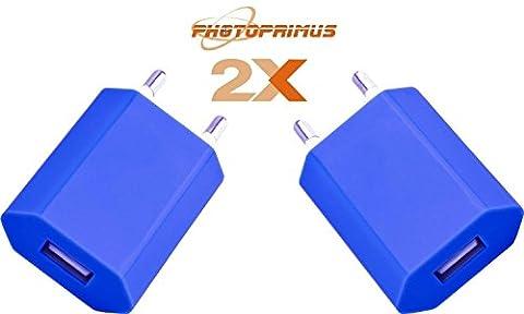 Photoprimus lot de 2 x universal-adaptateur uSB high power avec protection contre les surcharges (5 watts bleu