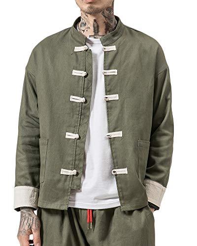 Liangzhu Herren Leinen Mäntel China Handgemachte Kung Fu Tai Chi Baumwolle Jacke Von Maßschneider Armee-Grün 4XL