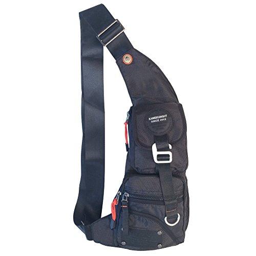 innturt Nylon Sling Bag Tagesrucksack Brust Tasche Messenger Rucksack Outdoor L Schwarz (Nylon-messenger Sling)