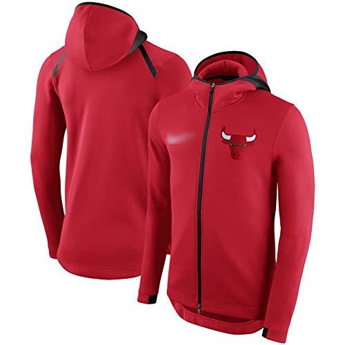 HS-XP Jerseys del Baloncesto de la NBA Chicago Bulls-Men, clásico Sudadera con Capucha de Entrenamiento de la Gimnasia de Invierno de Manga Larga Camiseta Zip,Rojo,XL(175~180) CM