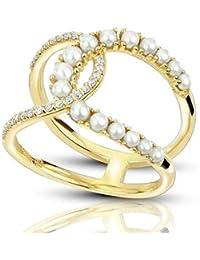 Anillo con doble perla y diamantes acentuados en oro amarillo de 14 k (0.14ct), anillo de compromiso con oro amarillo para siempre, anillo de bodas…