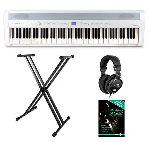 Steinmayer P-60 WM Stagepiano Stage Set (88 Tasten, Hammermechanik, Anschlagdynamik, 128-fach polyphon, 14 Sounds, inkl. X-Keyboardständer, Kopfhörer, Notenhalter, Netzteil & Noten) Weiß