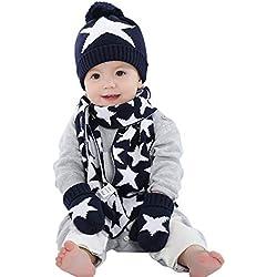 ad9716b8fefd Guanti Sciarpa cappello lavorato a maglia Stelle Set 3 pezzi invernali  Bambini Bambine 3-5
