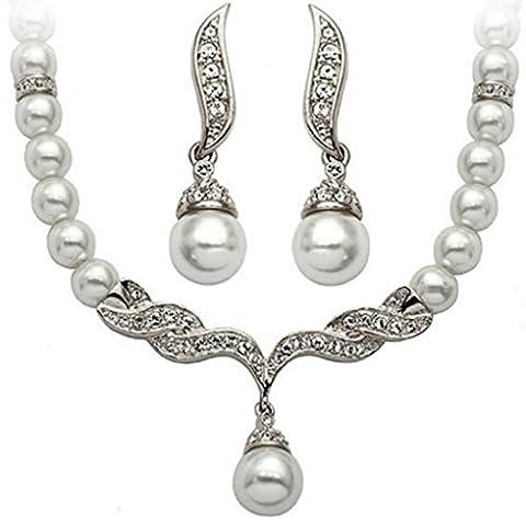LUFA Frauen Wulst Wasser Tropfen baumeln Halsketten Ohrring gesetzte Abendessen Kleid Braut (Bead Tropfen Baumeln Ohrringe)