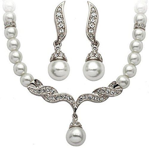 LUFA Women Bead Water Drop Dangle Necklace Earrings Set Dinner Dress Bride Jewelry