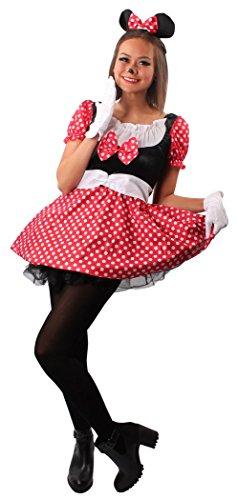 KARNEVALS-GIGANT Mäuschen-Kostüm Minnie in schwarz/weiß/rot | Größe 44/46 -
