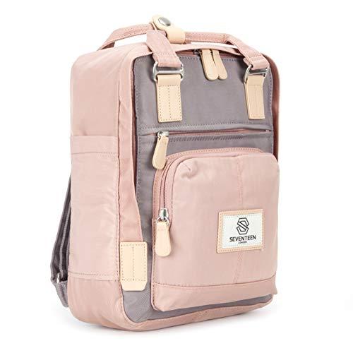 SEVENTEEN LONDON - Moderner, einfacher und Unisex 'Hackney Mini' Rucksack in rosa & grau mit einem klassischen Design im Skandi-Stil - perf...