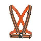 Enjoysports Verstellbare Starke Lichtreflektierende Weste Laufbekleidung Satety Schärpe Taillengürtel Streifen Jacke Hohe Sichtbarkeit Arbeitskleidung Weste, Orange