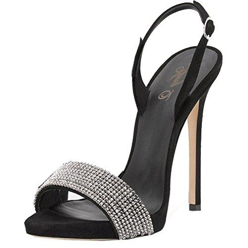ENMAYER Femmes Sexy Stiletto Talons Hauts Sandales Ouvertes Orteils avec Strass Noir(Faux Diamant)