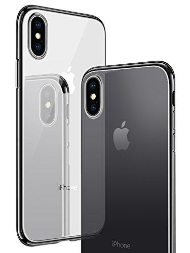 iPhone X Hülle, CASEKOO Silikon Dünn Case Transparent Weich Durchsichtig Leicht Cover Ultra Slim TPU Schlank Bumper Handyhülle Soft Kratzfest Schutzhülle für iPhone X [Unterstützt Kabelloses Laden(Qi)]- Schwarz