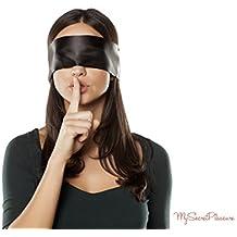 SM venda para los ojos con bolsas separada de alta calidad–Fetiche satén Ojo Máscara en negro/rojo–Bondage juguete para parejas–150cm de largo