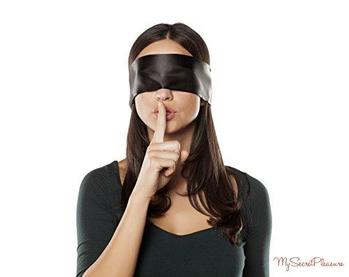 Hochwertige Satin Augenbinde mit diskretem Beutel - blickdichte SM Fetisch Augenmaske in Schwarz / Rot - BDSM Spielzeug für Paare - 150 cm lang