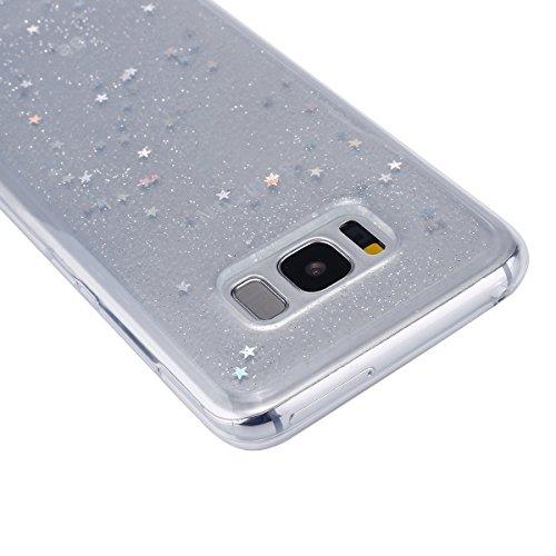 Custodia Cover per Samsung Galaxy S8,KunyFond Lusso Moda Brillantini Glitter Bling Placcatura Custodia Ultra Slim Soft Tpu Silicone Case Cover Scintillare Luccichio Cristallo Morbida Gel Protettiva Cu nero/stella