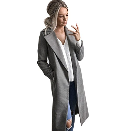 Mantel ,Winter Damen Lange Revers Parka Jacke Strickjacke Overcoat Outwear (S, Grau) (Wool Zip-cardigan)