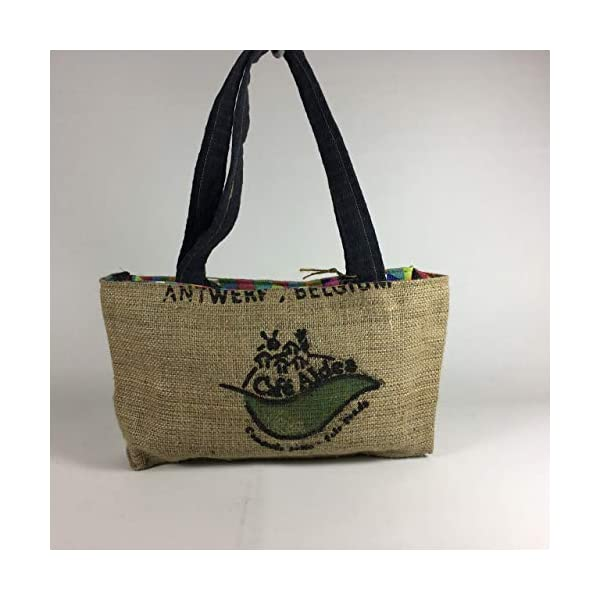 Up cycled vegan jute coffee sack handbag, 20 x 35 cm with magnetic button - handmade-bags